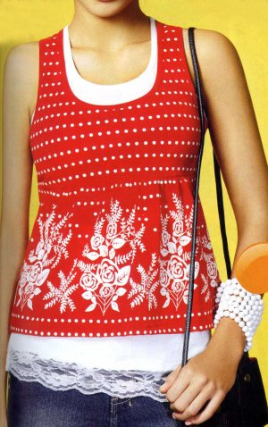 NLW-NAN Sleeveless Red and White 2-in-1 Tunic Top