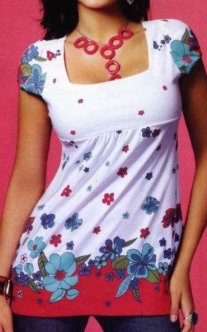 NLW-SAX Printed White Baby Doll Dress