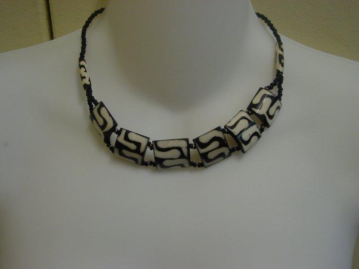 Handmade Ebony Choker- Zebra