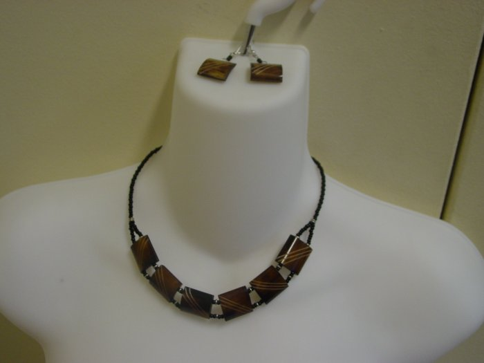 Handmade Ebony Necklace & Earring Set- Bronze