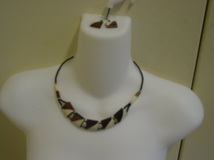 Handmade Ebony Necklace & Earrings- Bronze & White