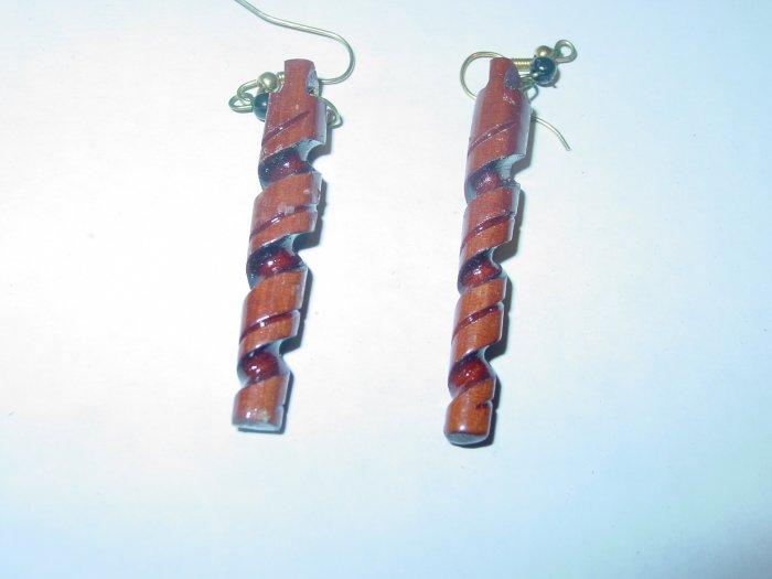 Handmade Carved Wood Spiral Earrings