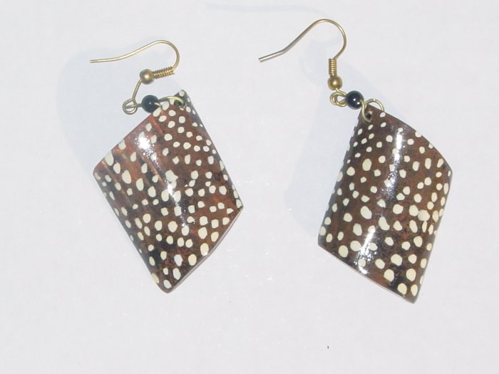 Hand Painted Shell Earrings- Dots