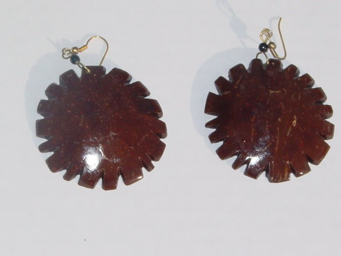 Handmade Coconut Earrings- Flower