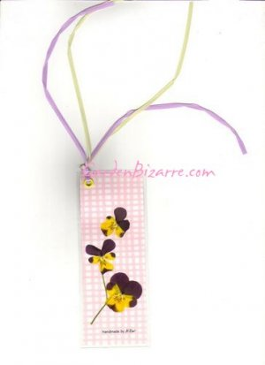 Pansy Pressed Flower Bookmark -  Free Shipping