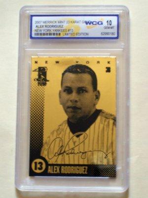 ALEX RODRIGUEZ -  23 karat  GOLD Baseball Card - 2007  - Limited Edition - WCG Gem Mint 10