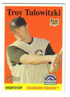 TROY TULOWITZKI - Colorado Rockies -2007 Topps Heritage Rookie card