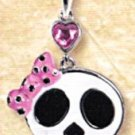 Lead Free Skull with Pink Bow Pewter Pendant