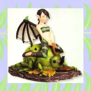 Collectible Green Beetle Rider Fairy