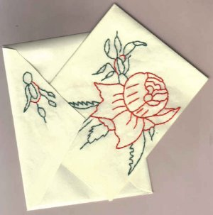 Handembroidered Red Rose Notecards