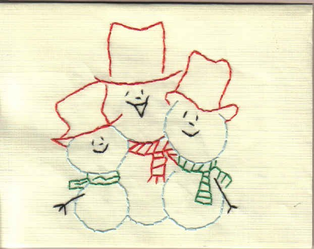 Handmade Embroidered Three Snowmen Cards
