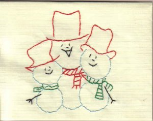 Handmade Embroidered Three Snowmen Cards