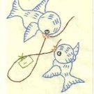 Handmade Embroidered Bluebird Notecards