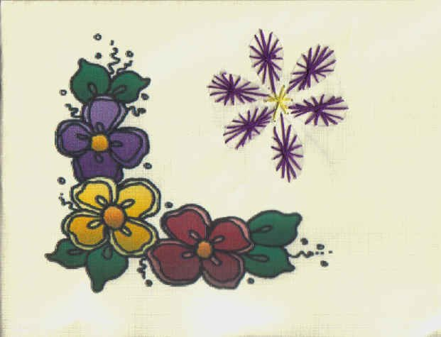 Handmade Embroidered Flower  Note Cards