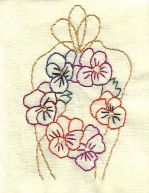 Hand Embroidered Handmade Pansy Note Cards