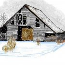 Gray Barn In Snow