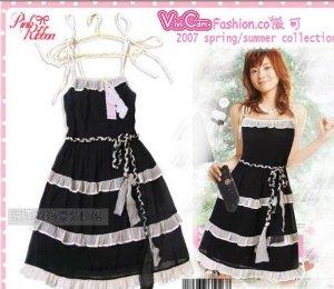 Black Chiffon Cutie Tea Dress D0401BP