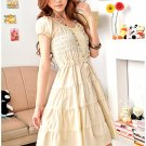 Korean Fashion Crumply Yellow Dress D0402YP
