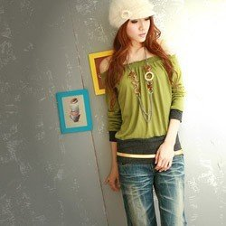 Chic Bare Shoulders Mid Sleeve Green Tee C041184GG