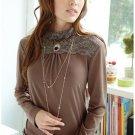 Smart Classy Lace Neck Front Blouse C041183BrG