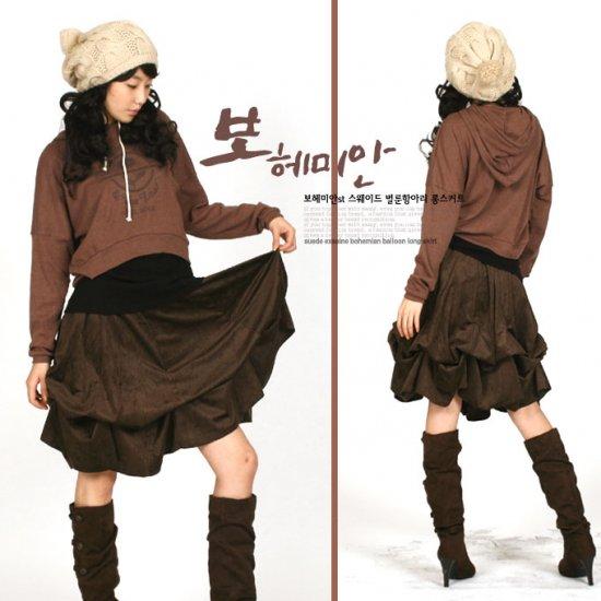 2-Style Suede Ballon Bohemian Skirt CS0401BrX