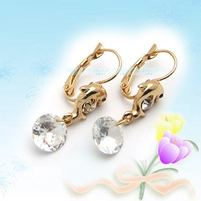 Silver Dolphin with Diamond Earrings E041525