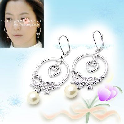 Sweet Diamond Heart with Ribbon and Pearl Earrings E041505