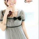 3086#小方领束胸连衣裙灰色