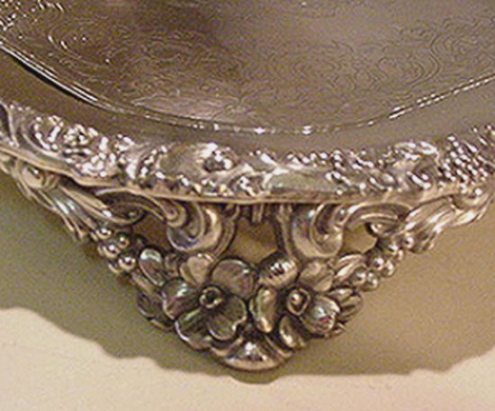 EXCEPTIONAL OLD SILVERPLATED SQUARE SALVER