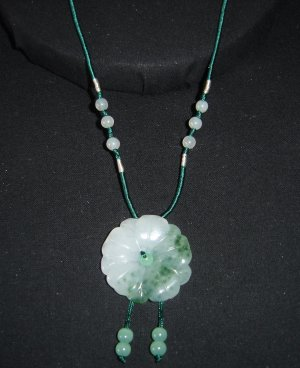 Green and White Jade Flower Pendant Necklace