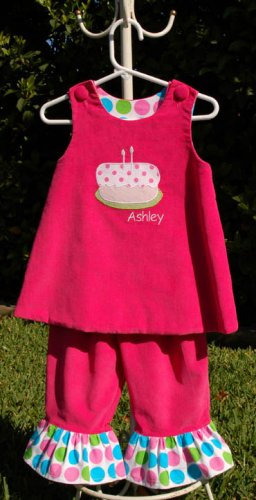 Have Your Cake and Eat it Too Handmade Applique Little Girls Dress