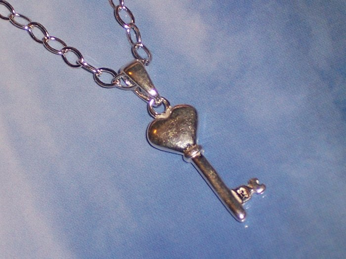 Sterling Silver Necklace- Key to your Heart Pendant with Sterling Silver Toggle from Bali