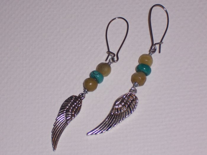 New Jade and Turquoise Earrings with Angel Wings