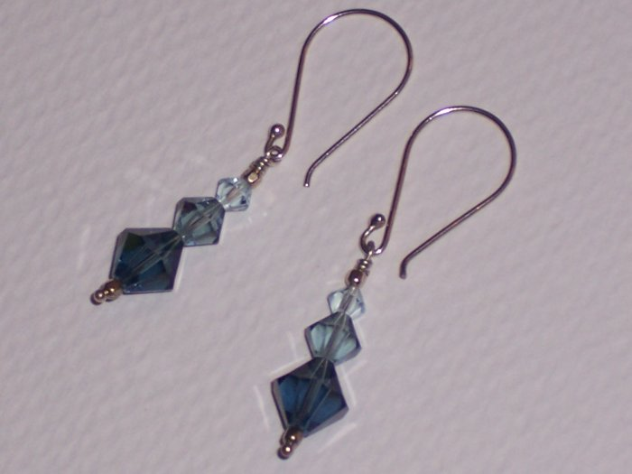 Sterling Silver Earrings with Blue Swarovski Crystals