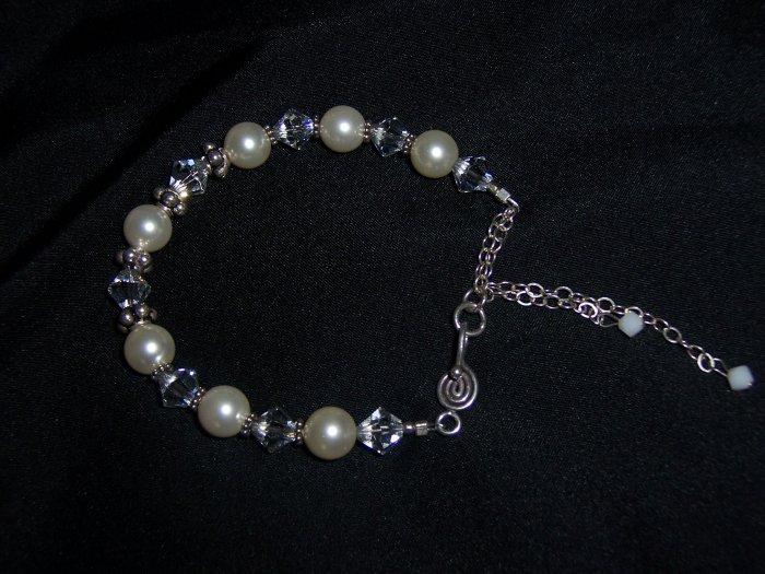 White Bride Bracelet of Pearls Swarovski Crystals and Sterling Silver