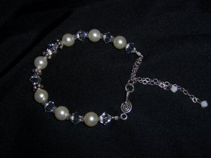 White Bride Bracelet of Pearls Swarovski Crystals and Sterling Silver