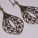 Simple Filigree Leaf Earrings on Antiqued Brass