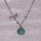 Dragonfly and amazonite Necklace on Sterling Silver Chain and Swarovski Crystals