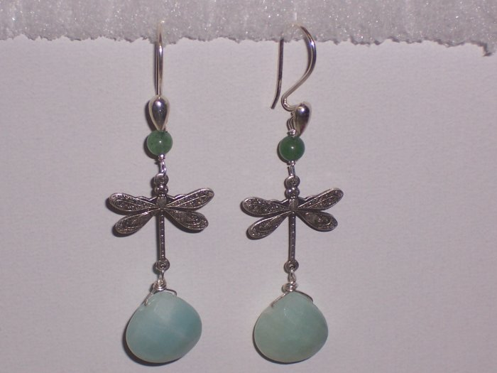 Dragonfly Earrings with Aventurine and Amazonite Stones on Sterling Silver