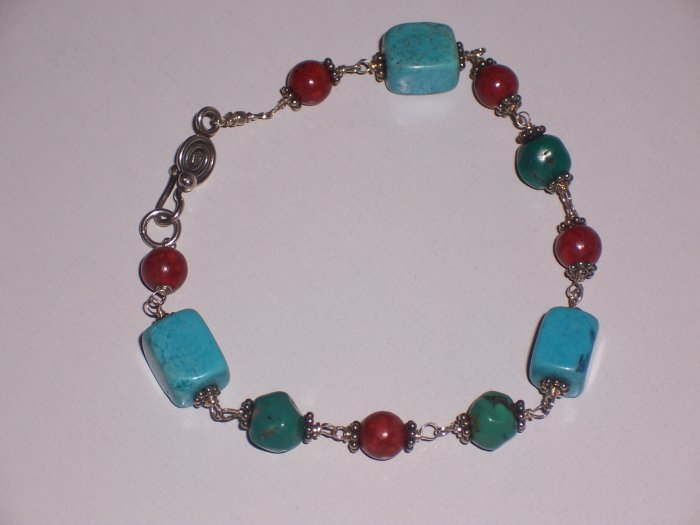 Turquoise Bracelet with Sterling Silver and Red Coral REDUCED Price