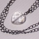 Quartz Heart Pendant on Gunmetal Finish Antiqued Brass Necklace