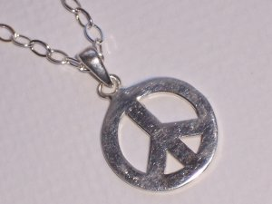 Peace Sign Necklace on Sterling Silver Chain