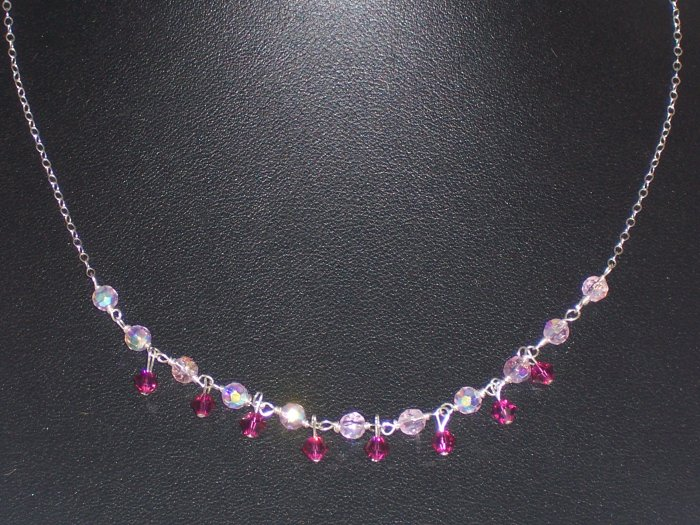 Light Rose and Fuschia Crystal Necklace on Sterling Silver Chain