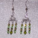 Green Swarovski Crystal and Sterling Silver Chandelier Earrings