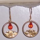 Lotus Blossom Flower Earrings with Red Cubic Zirconia on Vermeil Gold Earwires