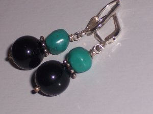 Sterling Silver Earrings with Turquoise and Black Onyx Free shipping to the USA