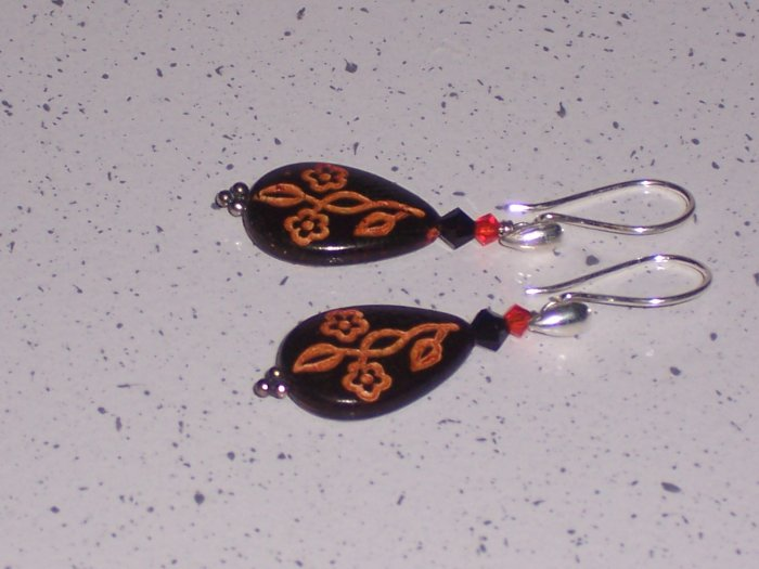 Sterling Silver and Brown Swarovki Dangle Earrings