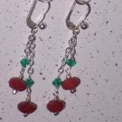 Ruby and Emerald Earrings on Sterling Silver Lever Backs