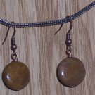 VINTAGE IMPERIAL JASPER COIN DANGLE EARRINGS