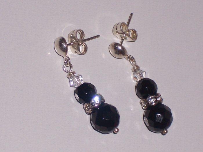 Black Onyx and Swarovski Crystal Earrings on Sterling Silver